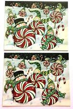 Lang Christms Cards Susan Winget Snowman'S Candy Cane lot 2 Unused 2007 envelope