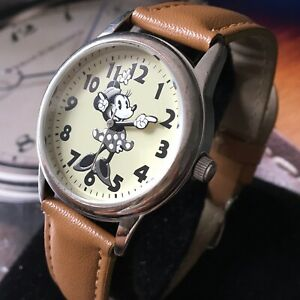 Ladies Disney Minnie Mouse Watch Quartz ACCUTIME Black White Brown Genuine