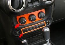 Car Inner Air Vents Button Trim+Emergency Light Switch Cover Orange For Wrangler