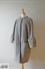 Kaliko grey COAT cocoon 1920'S 30'S STYLE fur cuffs LUXURIOUS flapper 18 20 22