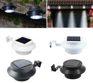 2x Solar Powered 3 Led Gutter Door Wall Fence Lights Solar Outdoor Garden Lights