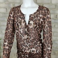 Passport Womens Blouse Sze S Brown Animal Print Long to 3/4 Sleeve Brass Studded