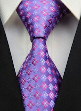 New GZ073 Purple Pink Paisley Classic JACQUARD Woven 100%Silk Mens Tie Necktie S