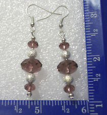 Amethyst colored faceted and silver stardust bead earrings