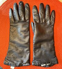 Saks Fifth Avenue Womens Navy Blue Leather Gloves Cashmere Lined Italy Forearm