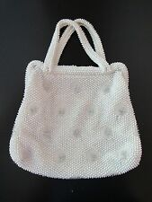 Beaded Vintage CORDE BEAD White Handbag Purse Bag Embroidery silverCLEAN EUC