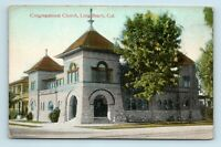Long Beach, CA - EARLY STREET SCENE VIEW OF CONGREGATIONAL CHURCH - POSTCARD