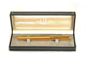 Boxed 1980's Dunhill Gold-Plated Pinstripe Fountain Pen Montblanc Germany
