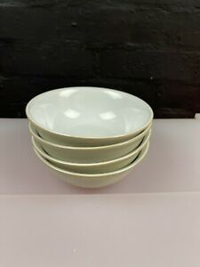 """4 x Denby Linen Cereal Bowls 6.5"""" Wide 1st Quality Set"""