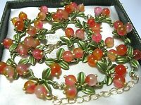 Vintage Style Art Deco Real Agate Stone BEAD Berries Blossom Enamel NECKLACE