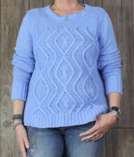 Lands End Drifter Sweater L 14 16 size Light Blue Cotton Womens Cable Casual Top