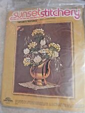"VTG New Sunset Stitchery ""Natures Textures"" Floral Crewel Embroidery Kit # 2284"