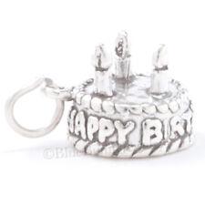 BIRTHDAY CAKE Charm Pendant .925 925 Sterling Silver HAPPY Birthday cake Candles