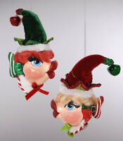 Elf Kissing Fish Christmas Ornaments w Hats - Katherine's Collection