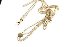 VICTORIAN G/PLATED HEART SLIDE PENDANT FOB 4-SEED PEARLS WATCH CHAIN NECKLACE