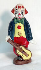 "Ceramic Clown with Guitar Figurine Statue - Made In Tawain 7"" Tall"