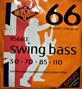 Rotosound Electric Bass Strings. Stainless Steel Roundwound. Swing Bass. RS66LE