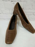 Nordstrom Glow Womens 9W Brown Leather Pattern Classic Square Toe Pumps