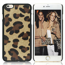 For iPhone 6 Plus Brown Black Leopard Cheetah Hard Rubber Coated Gummy Case Film