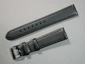 echt Leder Uhrenarmband Schwarz Seidenmatt 18mm breit Edelstahlschliesse 7126