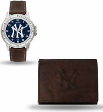 New York Yankees Watch and Wallet Gift Set - MLB Brown Leather Stainless Steel