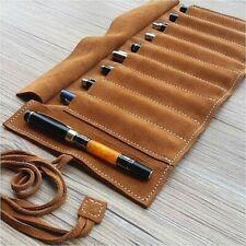 Genuine Leather Fountain Pen Roll Case Cowhide 9 Pen Holder Case Pouch