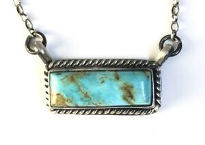 Native American Sterling Silver Navajo Kingman Turquoise Bar Necklace. Signed