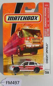Matchbox Emergency Response Chevy Impala Fire car 4/8 FNQHotwheels FM497