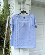 NWT Talbots Pretty Blue White Embroidery Linen Short Tie Sleeve Blouse2X 18W 20W