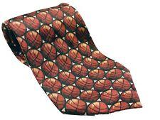 Basketball Print NBA Sports Men's Necktie Novelty Orange Silk
