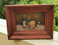 VINTAGE SMALL OIL PAINTING WINE, CHEESE, BREAD & FRUIT STILL LIFE SIGNED TEUREL