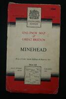 "OS Linen 1"" Map MINEHEAD Sheet 164 Seventh Series 1960 Good Condition"