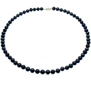 Black Pearl Necklace Quality 6mm Round Cultured Pearls Sterling Silver