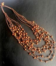 BOHO / LAGENLOOK 70'S STYLE WOODEN  BROWN STATEMENT 8 STRAND NECKLACE