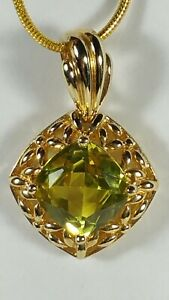 """ROSS SIMONS 925 YELLOW CITRINE GOLD PLATE STERLING SILVER PENDANT NECKLACE 17"""""""