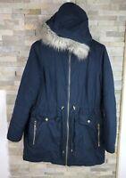 M&S Ladies Size 12 Blue Faux Fur Trim Coat Jacket
