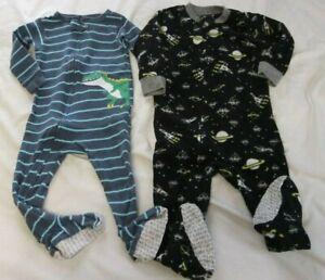 Pre-Owned Carter's 18 Month Fleece Boys Zip Up Sleepers Blue Space Dinosaur