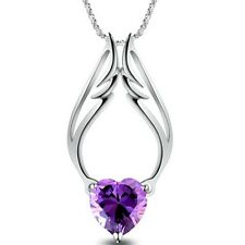 Silver Plated Chain Purple Heart Rhinestone Angel Wing Pendant Women's Necklace