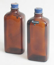 DARKROOM BROWN GLASS CHEMICAL BOTTLES SET OF 2