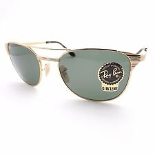 Ray Ban Signet 3429 M 001 58 Gold Green G15 Sunglasses New Authentic