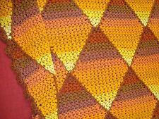 "UNIQUE Handmade CROCHET AFGHAN Chair THROW Diamond 46"" x 66"" Candy Corn AUTUMN"