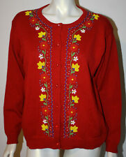 DKNY Red Native American Floral Beaded LS Cardigan Sweater M