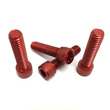 Harley Davidson Bar Clamp Bolts Screws - A2 Stainless COLOURED RED - Pack of 4