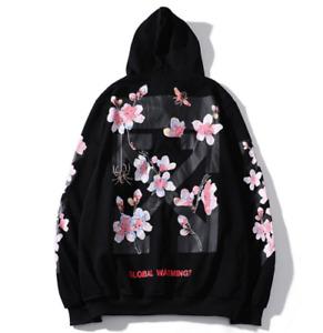 Off white men Hoodie Cherry blossoms Streetwear Jumper Sweatshirt Activewear