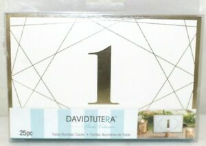 David Tutera Modern Geometric Gold Foil Paper Table Number Cards 25 Pieces