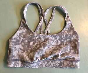 lululemon Energy Sports Bra Gray Marbled Tie Dye Size 6