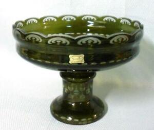 Egermann Czech Art Glass Green Cut to Clear Console Epergne Bowl