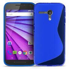 Handy Hülle Motorola Moto G2 Ultra Slim Case Silikon Cover Schutz Tasche Blau
