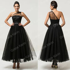 Tulle Black Retro Masquerade Ball Gown Long Formal Evening Bridesmaid PROM Dress