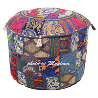 Indian Round Pouffe Cover Ethnic Ottoman Footstool Embroidered Patchwork 22Inch